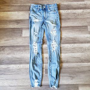 AE American Eagle Hi Rise Jegging Distressed Jeans